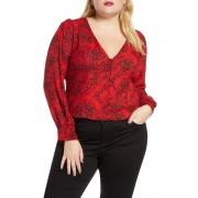 Leith Front Button Printed Top RED CHILI- BLACK DOT
