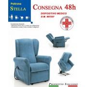 Il Benessere Poltrona Relax Stella Sfoderabile Due Motori con Alzapersona Tessuto Lavabile Colore Blu Consegna 48 Ore