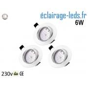 Lot de 3 Spots LED GU10 Blanc Naturel encastrable blanc orientable Perçage 70mm Ref Kgu10-13
