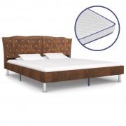Sonata Легло с матрак от мемори пяна, кафяво, плат, 160x200 cм
