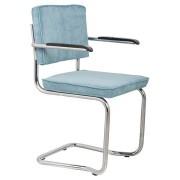 Fotel RIDGE KINK RIB BLUE 12A 1200050 Zuiver wygięta chromowa rama niebieska sztruksowa tapicerka