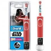 Детска електрическа четка за зъби Oral-B Disney Star Wars, 4 сменяеми стикера, за деца над 3 годинки, Червена