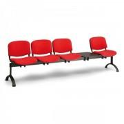 Kovo Praktik RAUMAN Čalouněné lavice VIVA, 4-sedák + stolek, černé nohy červená