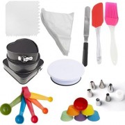 Way Beyond Baking Baking Tool Combo Set of Cake Table 3 Cake Mould 6 Silicone Muffin Cups 25 Icing Bag Set Icing Scraper & Spatula Measuring Spoons 6 Icing Tips Silicone Spatula & Pastry Brush