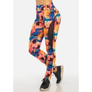 CheapChic Trendy Pink and Orange High Waisted Printed Active Skinny Leggings Multicolor