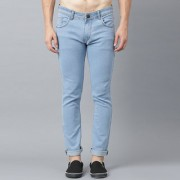 Stylox Men Slim Fit Stretchable Mid Rise Ice Blue Jeans
