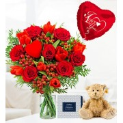 J'adore Bundle - Valentine's Flowers - Valentine's Gifts - Red Roses with Red Tulips