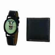 Crude Analog Watch-rg670 With Black Leather Wallet