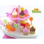 Little Treasures Miniature Sweet Shop - fun educational game of 39 pcs for kids 3 luxury candy cart with light and music a beautiful cart with stand that holds ice creams and many sweets