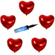 De-Ultimate Set Of Inflator Balloons Air Pump And 15 Pcs Love Heart Design Balloons For Birthday Parties Decorations