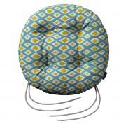 Dekoria Siedzisko Adam na krzesło, oliwkowo-żółte romby na turkusowym tle , fi 40 × 8 cm, Comics