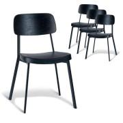 Set of 4 - Enfys Industrial Dining Chair - Black Frame - Black Back - Black Cushion Seat