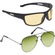 Vast Wrap-around, Aviator Sunglasses(Yellow, Green)