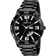 Gen-Z GENZ-SN-GUNDD-0006 Black dial stainless steel day and date gun metal watch for men