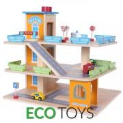 Set Joc pentru Copii Pista din Lemn tip Parcare cu Lift pe 3 Etaje + Masinute si Accesorii