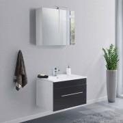 Waschplatz Set in Schwarz und Weiß LED Beleuchtung (2-teilig)