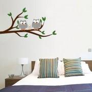EJA Art Owl Wall Sticker (Material - PVC) (Pec - 1) With Free Set of 12 pec butterflies sticker