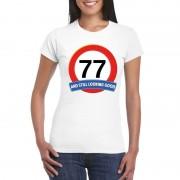 Bellatio Decorations Verkeersbord 77 jaar t-shirt wit dames