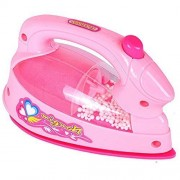 AxiEr Min Light appliances Pretend Play Children's Kid's Battery Operated Irons Toys Clothing Iron Playset Pink