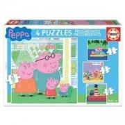 Детски пъзел 4 в 1 Educa, 15918 Peppa Pig, 8412668159181