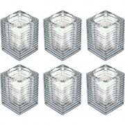 Candles by Spaas 6x Transparante kaarsenhouders met kaars 7 x 10 cm 24 branduren
