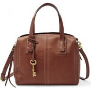 Fossil Women Casual Brown Genuine Leather Satchel