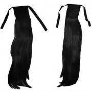 GadinFashion beautiful black ribbon pony Head hair Wig hair extensions for women girls natural costume for party toupee artificial juda false fake hair wig