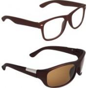 Zyaden Wayfarer, Wrap-around Sunglasses(Clear, Brown)
