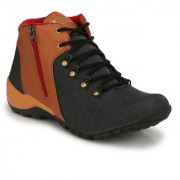 NYN Men's Black Synthetic Leather Casual Boots