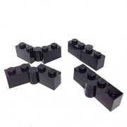 Lego Parts: Hinge Brick 1 x 4 Swivel Base and Top *Complete Assembly* (PACK of 4 - Black)