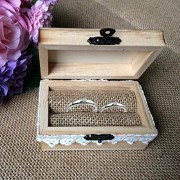 ELECTROPRIME® Rustic Wooden Mr&Mrs Ring Boxes Wedding Valentines Ring Holder Jewelry Box