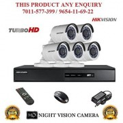 Hikvision 2 MP Turbo DS-7208HQHI-F1 8CH DVR + Hikvision DS-2CE16DOT-IRPF Night Vision Bullet Camera 5pcs Combo