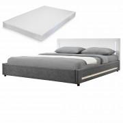 [my.bed] Elegantná manželská posteľ s LED osvetlením - matrac zo studenej HR peny - 180x200cm (Záhlavie: koženka biela / Rám: alcantara koženka sivá) - s roštom