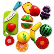 Realistic Sliceable Fruits Cutting Play Toy Set with Velcro Multi Colour