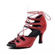 TDA Zapatos de Baile Latino para Mujer con Cordones y Puntera Abierta, Tacón Rojo con Purpurina de 7,5 cm, 9.5 US
