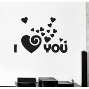 EJA Art I love you Wall Sticker (Material - PVC) (Pec - 1) With Free Set of 12 pec butterflies sticker