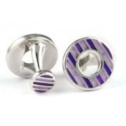Mousie Bean Enamelled Cufflinks Polo Round 152 Tonal Purple