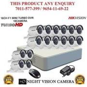HIKVISION 2 MP 16CH DS-7116HQHI-F1 MINI Turbo HD 720P DVR + HIKVISION DS-2CE16DOT-IR TURBO BULLET CAMERA 16pcs CCTV COMBO