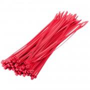 Bellatio Design 100x stuks kabelbinder / kabelbinders nylon rood 10 x 0,25 cm