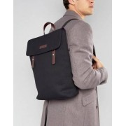 Smith And Canova Canvas Flap Over Backpack With Leather Trim - Black