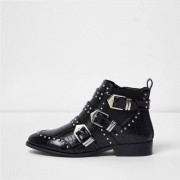 River Island Womens Black studded multi buckle ankle boots