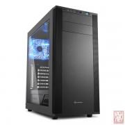 """Sharkoon M25-W, no PSU, 1x5.25"""", 1x3.5"""", 2x2.5"""", USB3.0, Front 2x120mm fan/ Rear 1x120mm LED fan, ATX Midi Tower, black"""