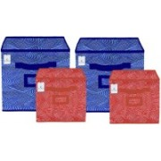 Billion Designer Laheriya Design Non Woven 4 Pieces Small & Large Foldable Storage Organiser Cubes/Boxes (Blue & Orange) - BILLION36127 BILLION036127(Blue & Orange)