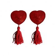 Tapa Mamilos Ouch! Heart Nipple Tassels Vermelhos