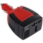 Invertor auto cu USB,de tensiune DC 12V la AC 220V si putere 75 Watt