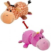 Jucarie de plus Jay At Play FlipaZoo Girafa si Hipopotam 32 cm