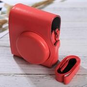 CAOMING Cámara de Cuerpo Completo PU Bolsa de Cuero con Correa for FUJIFILM instax Mini 90/25/7/8/9 Durable (Color : Red)