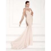 Apricot Transparent Gauze Evening Dress