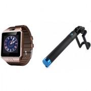 Zemini DZ09 Smart Watch and Selfie Stick for SAMSUNG GALAXY CORE LITE(DZ09 Smart Watch With 4G Sim Card Memory Card| Selfie Stick)