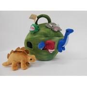 Plush Dinosaur House with Dinosaurs - Six (6) Stuffed Animal Dinosaur in Play Dinosaur Carrying Case